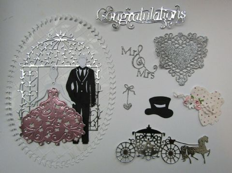 WEDDING CARD TOPPER & DIE CUT SET TO MAKE A MAGICAL HOME MADE WEDDING CARD